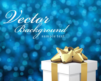 Blue Bokeh Background with 3D Xmas Gift Box - Free vector #164455