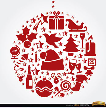 Christmas symbols hanging ball shape - vector #164465 gratis
