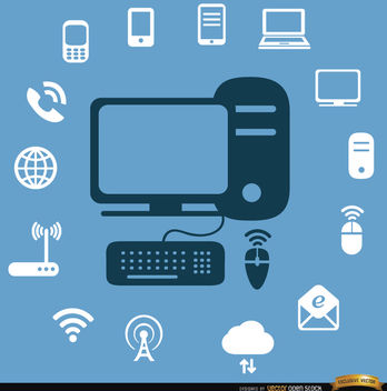 Computer internet devices icons - Free vector #164565