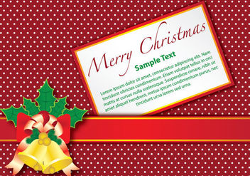 Christmas Gift Card with Bells on Dotted Background - vector gratuit(e) #164625