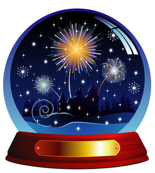 Celebrating Christmas Night in Snow Globe - vector gratuit #164685