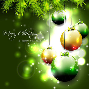 Green Christmas Background with Balls and Branches - Free vector #164725