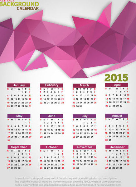 Triangular Polygon Abstract 2015 Calendar - vector #164745 gratis