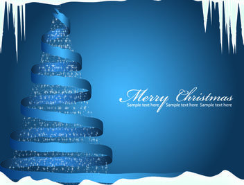 Blue Spiral Ribbon Christmas Tree Background - Free vector #164785