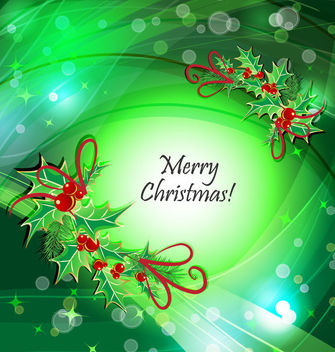Mistletoe Frame Green Curves Christmas Background - vector gratuit #164825