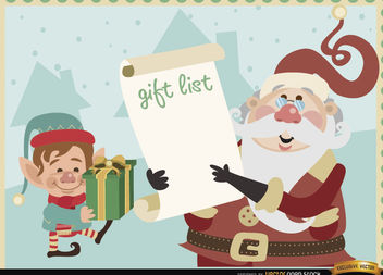 Santa elf gift list background - vector gratuit #164855
