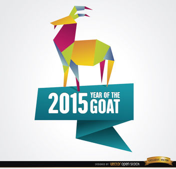 2015 colorful origami year goat background - vector gratuit #164885