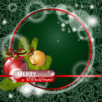 Floral Christmas Background with Red Circular Frame - vector gratuit #164915