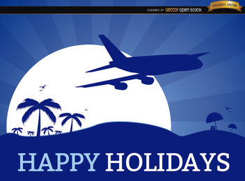 Holidays vacation plane background - vector gratuit #165025