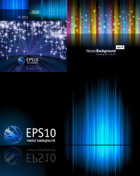 Blue Lines & Abstract Technology Background Set - Free vector #165055