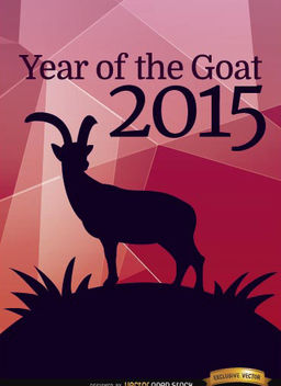 2015 Year of Goat polygon poster - Free vector #165125