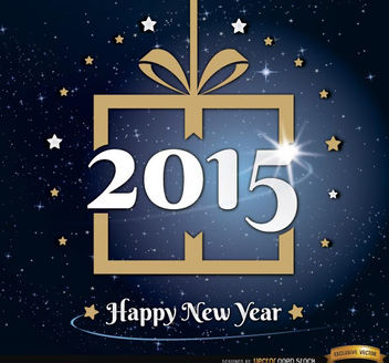 2015 New Year gift stars background - vector gratuit #165175