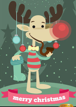 Funny Christmas reindeer background - vector #165215 gratis