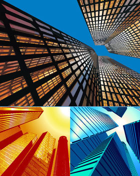3 Beautiful Abstract Sky View City Buildings - бесплатный vector #165225