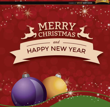 Christmas New Year ribbon background - vector #165255 gratis