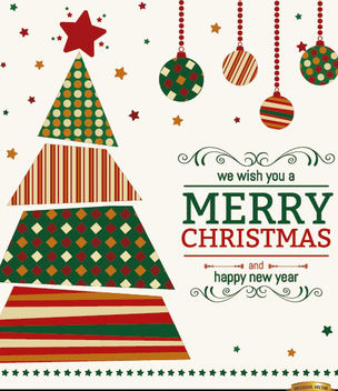 Christmas tree wishes background - vector gratuit #165275