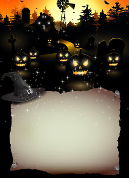 Halloween Invitation with Ripped Paper Poster - Free vector #165305