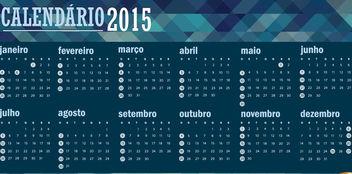 2015 polygonal blue calendar Portuguese - Free vector #165315