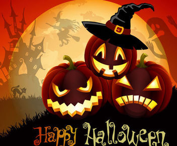 Cute Pumpkins with Hat over Full Moon Halloween - vector gratuit #165385