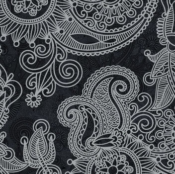 Abstract Floral Vintage Black & White Pattern - vector gratuit #165395
