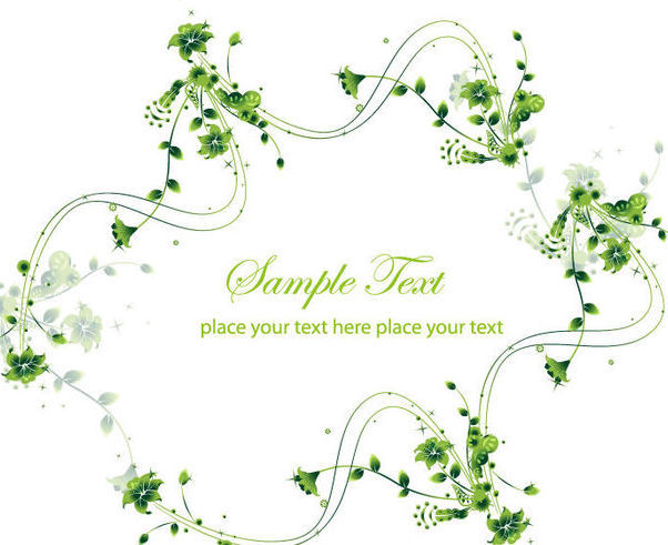 Creative Swirling Floral Frame Green Card - Free vector #165415