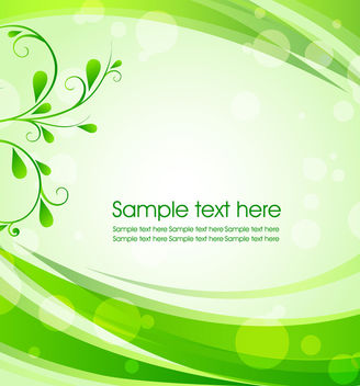 Green Curve Frame Background with Floral & Bokeh - Free vector #165425