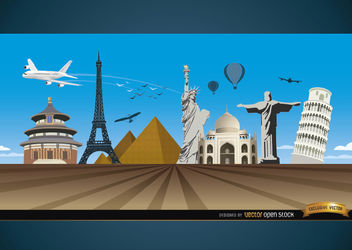 Travel marvels around world background - vector gratuit #165505
