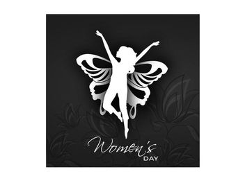 Butterfly Winged Happy Woman Silhouette - vector gratuit #165565