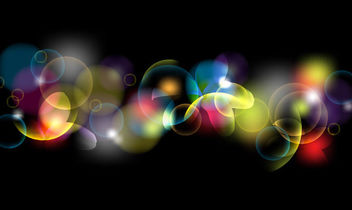 Colorful Fluorescent Bokeh Bubbles on Black - vector gratuit #165705