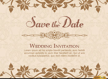Golden Floral Wedding Invitation Template - Free vector #165825