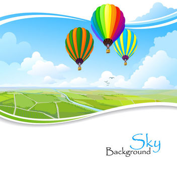 Hot Air Balloons Above Wavy Edge Lawn - vector gratuit #166125