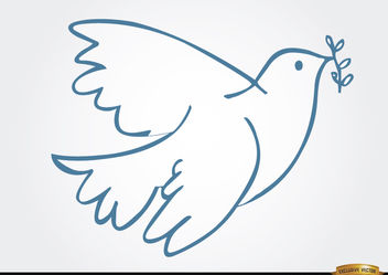 White dove laurel peace symbol - vector gratuit #166175