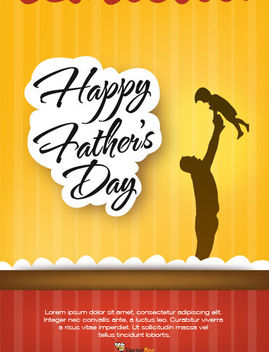 Father's Day Flyer Template with Stripy Background - vector gratuit #166245