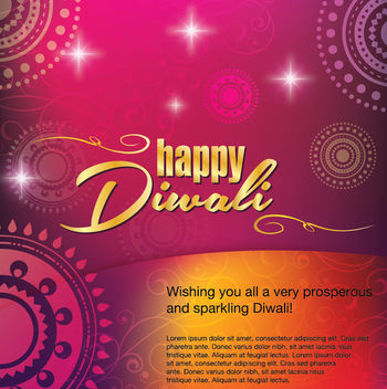 Happy Diwali Greeting Card Decoration - vector gratuit #166275