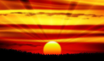 Glowing Realistic Sunset Sky - vector gratuit #166375