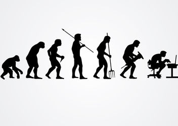 Evolution of human work silhouettes - vector #166525 gratis
