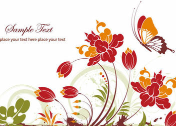 Abstract Flower Plants with Decorative Butterfly - Free vector #166555