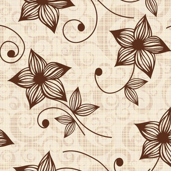Elegant Vintage Line Art Floral Pattern - Kostenloses vector #166565