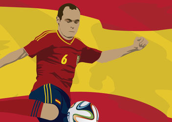 Spain player Andres Iniesta with flag - Free vector #166855