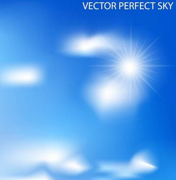 Blue Sky with Blurry Clouds and Glowing Sun - vector gratuit(e) #166895