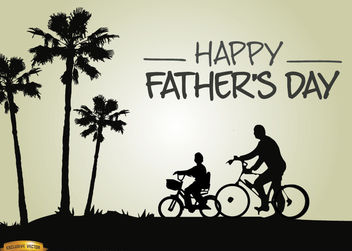 Father's day riding bike with son - vector gratuit #166915