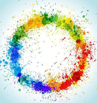 Colorful Grungy Circular Paint Splashes - Free vector #166965