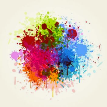 Blast of Grungy Colorful Splashes Background - Free vector #167215