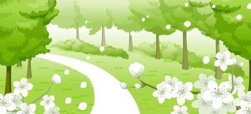 Fresh Green Spring Background with Flowers - Free vector #167365