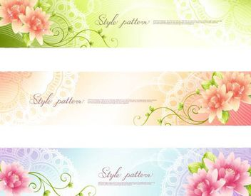 3 Floral Banners with Swirls - vector #167405 gratis