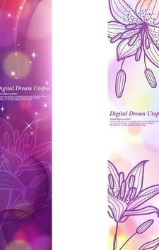 Shiny Purple Brochure Template with Lily - Free vector #167415