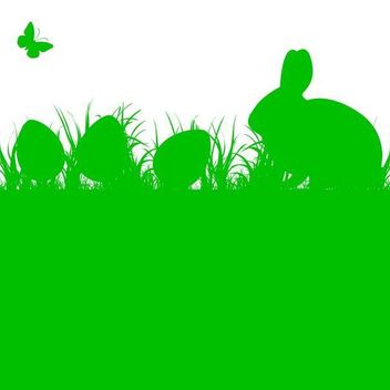 Silhouette Easter Bunny and Eggs on Grass - vector gratuit #167515