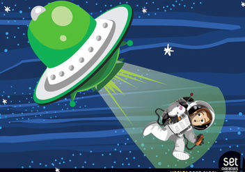 Astronaut abduction from flying saucer - Free vector #167535