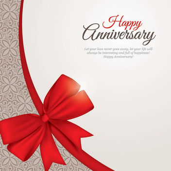 Floral Pattern Anniversary Card with Ribbon - Free vector #167775