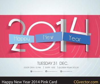 Happy New Year 2014 Pink Card - Free vector #167785